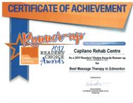 Edmonton Journal Registered Massage Therapy Award 2017